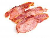 Cooked back bacon rashers or strips
