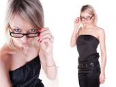 girl with glasses in comic position