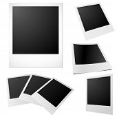 Set of blank printed photos isolated on white.