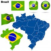 Brazil set. Detailed country shape with region borders, flags and icons isolated on white background
