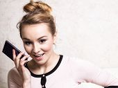 Businesswoman Talking On Mobile Phone Smartphone