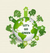 Green Eco Earth. Vector Illustration.