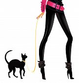 girl with a black lady-cat