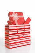 Red Gift Boxes In Red Shopping Bag