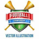 Label with vuvuzela for football sport competition. Bright premium design. Vector Illustration.