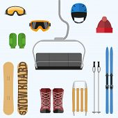 foto of yoke  - Set of flat design elements on winter sport theme - JPG