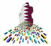 Qatar map flag with containers illustration