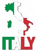 Italy map flag and text illustration