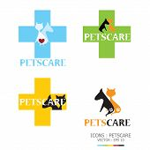 Dog And Cat Petscare Icon Set Design