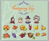 Thanksgiving Set of Colored Icons