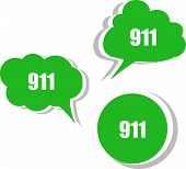 911 On Modern Banner Design Template. Set Of Stickers, Labels, Tags, Clouds