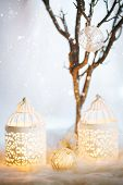 White Christmas Card. Decoration With Lanterns.