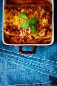 Italian Food. Lasagna Plate. Top View.