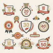 picture of marriage decoration  - Anniversary celebration retro label set with decoration isolated vector illustration - JPG