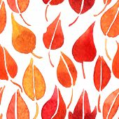 vector seamless pattern with red leaves