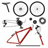 image of bicycle gear  - Illustration separately of bicycle parts - JPG