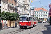 Czech tram in historical the center of Prague