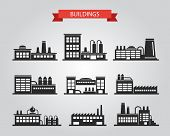Set of flat design industrial buildings pictograms