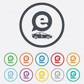 Electric car sign icon. Sedan saloon symbol.