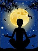 Yoga Silhouette Against The Starry Sky And The Full Moon