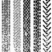 Set of detailed tire prints