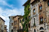 Historical Houses On Well Square In San Gimignano
