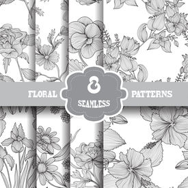 picture of invitation  - Set of 8 elegant seamless patterns with hand drawn decorative flowers design elements - JPG
