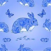 Seamless Texture Easter Blue Bunny With Butterfly  Vector
