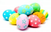 Colorful Handmade Easter Eggs Isolated