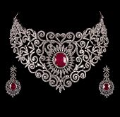 pic of diamond  - Close up of diamond necklace on black background with diamond earrings - JPG