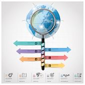 Global Business And Financial Infographic With Magnifying Glass Spiral Arrow Diagram