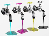image of path  - faucets with cyan magenta yellow and black rendered in 3d with clipping path - JPG