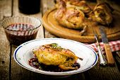 The Baked Quails With Cowberry Sauce