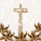 stock photo of risen  - Christian cross and beautiful lily flower on abstract background - JPG