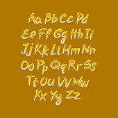 Trendy Hand Drawing Alphabet, Vector Illustration.