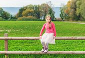 Cute little girl sitting on a fence in a countryside, wearing tutu skirt, pink pullover and boots