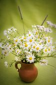 Bouquet Of Wild Flowers In A Clay Pot, Close-up