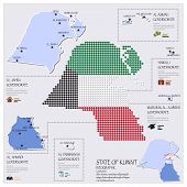 foto of kuwait  - Dot And Flag Map Of State of Kuwait Infographic Design Template - JPG