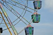 A colourful ferris wheel with blue sky background