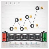 Global Business And Financial Infographic With Shutter Film Diagram Concept
