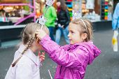 pic of princess crown  - Cute little girls playing princesses in a city - JPG