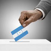 Black Male Holding Flag. Voting Concept - Honduras