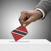 Black Male Holding Flag. Voting Concept - Trinidad And Tobago