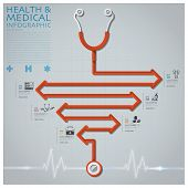 Line Arrow Diagram Stethoscope Health And Medical Infographic