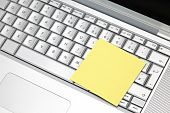 Sticker on computer keyboard