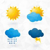 picture of rainy season  - Icons for weather with sun and cloud motif with triangles - JPG