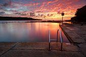 Red Summer Sunrise Over Malabar Ocean Rock Pool Long Bay Australia