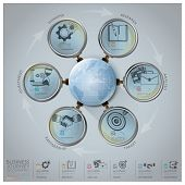 Global Business Journey Infographic With Magnifying Glass Arrow Round Circle Diagram