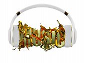 gold liquid from the headphones breaks inscription music. stylish white with gold headphones, and th