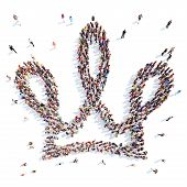 people in the shape of a crown.